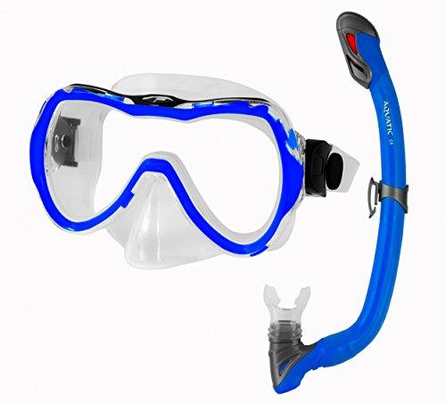 Aqua Speed® ENZO & Samos Set Schnorchel + Taucherbrille für Kinder (Schnorchelset Soft-Silikon Anti-Fog UV-Schutz), 10 / Navy:blau