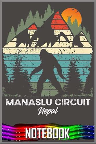 Notebook: Vintage Manaslu Circuit Hiking Trail Retro 80's Premium by Dema Tiq