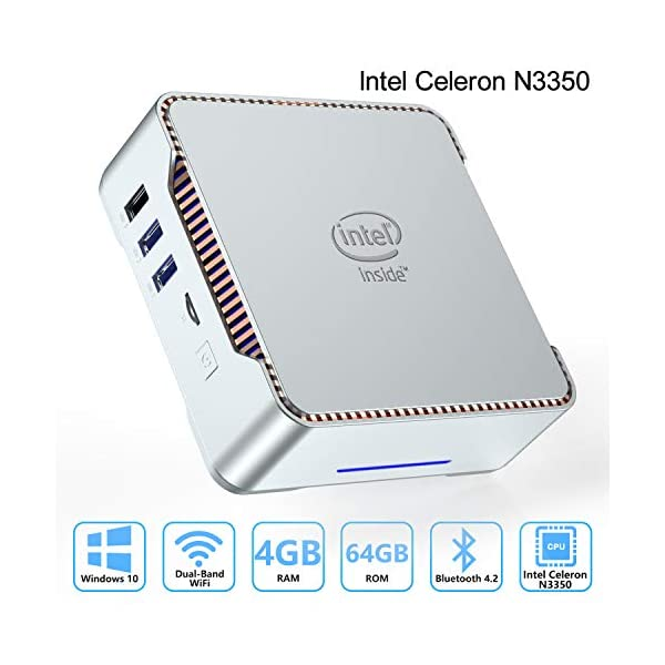 AK3 Mini PC Intel Celeron N3350 (up to 2.4GHz) Mini Computer with Window 10 Pro 64bit...