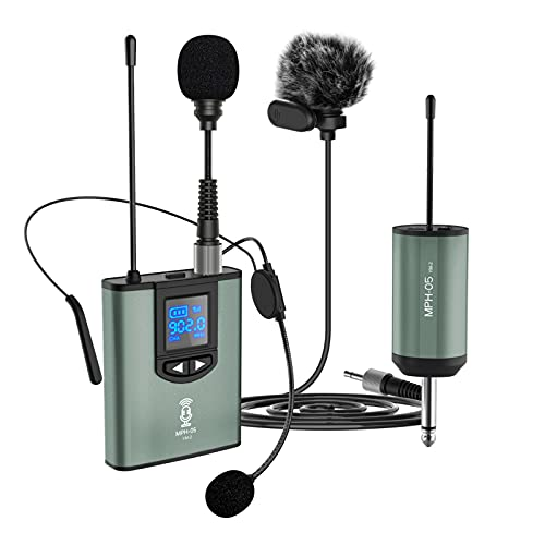 Microphone for Phone DSLR Camera Speaker Amp Laptop, Wireless Lavalier Lapel Headset Stand Mic Rechargeable Wireless Mini Receiver Portable Transmitter System for Church Teaching Vlog Video Recording