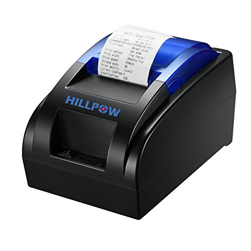 HILLPOW 58MM USB Thermal Receipt Printer Compatible with Bill Ticket Barcode ESC/POS Print Commands Set NO Bluetooth Function