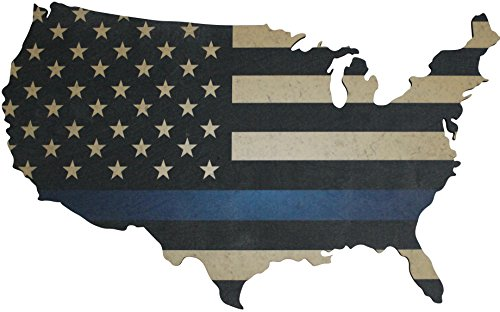"Thin Blue Line American Flag Wall Art Large 36"" x 22"" Laser Cut Wood Map with Distressed Vintage US Flag Print"