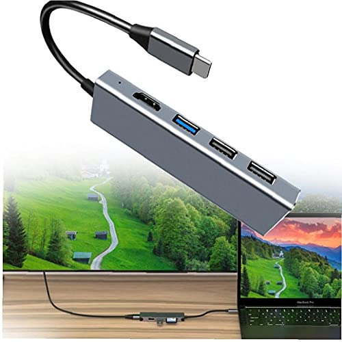 Concentrador USB 7-IN-1 USB C a HDMI Adaptador 4K, tipo C HUB USB 3.0, puerto USB 2.0, lector de tarjetas MicroSD/TF compatible con MacBook Pro, XPS13 / 15, Pixel, Libro de superficie 2
