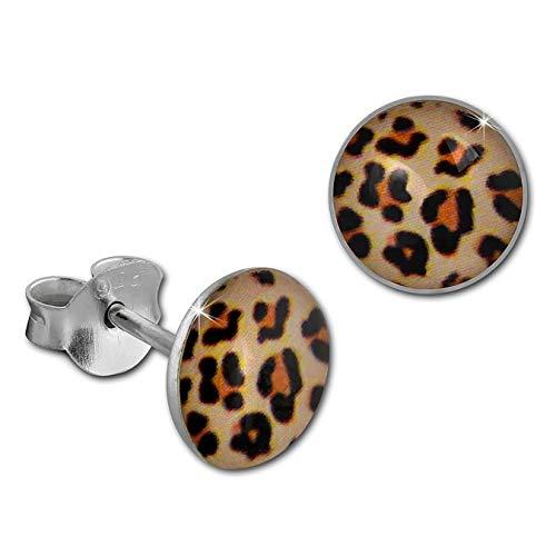 Pendientes desenchufes SilberDream para mujer con estampado animal Leopard redondo 925 plateado SDO8512Y