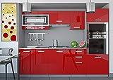 Tarraco Comercial Muebles de Cocina Completa Paula Rojo Brillo 240 cm