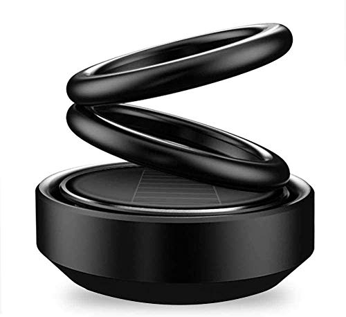 PINZU Solar Car Fragrance Double Ring Rotating Car Aromatherapy Home Office Air Fresher Decoration Perfume Diffuser (Black)