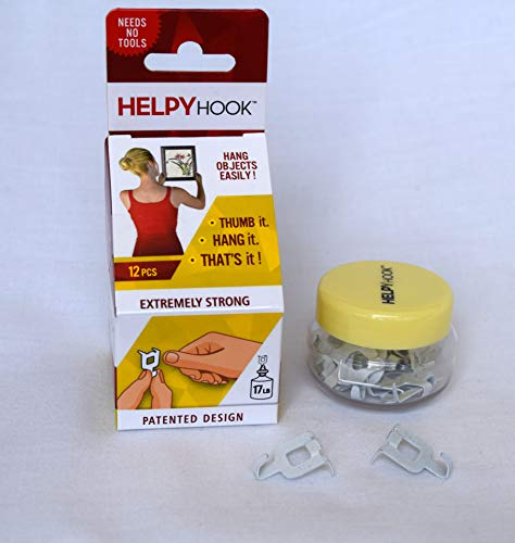 HELPYHOOK - Amazing - Tool Free Drywall Picture Hanger - no Tools, no Nails, no Hammer, no Adhesive - Hang up to 17 lbs - 12 Hooks in Container