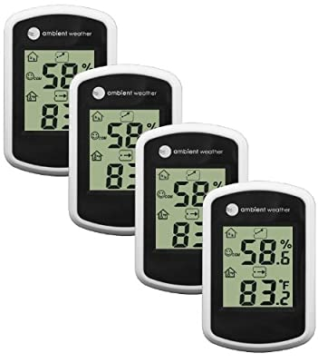 Ambient Weather WS-03-4 Compact Indoor Temperature and Humidity Monitor, 4 Pack
