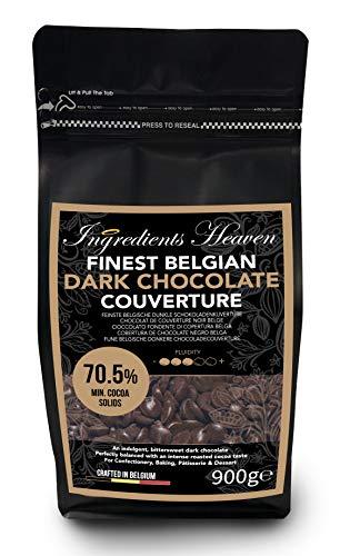 Ingredients Heaven - 70,5% Cobertura de Chocolate Negro Belga - Finest Belgian Dark Chocolate Couverture - 900g