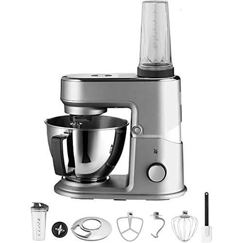 WMF Küchenminis Edition Mini-Küchenmaschine, platzsparend, Mixer für Smoothies, 3l-Schüssel, Softanlauf, Planeten-Rührwerk, 8-stufige Knetmaschine, 3 Rührwerkzeuge, 430W, edelstahl matt, grau