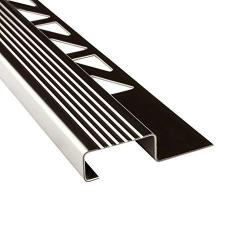 Edelstahl Stufenprofil Fliesenleiste Profil Treppen Schiene L250cm 25mm glänzend