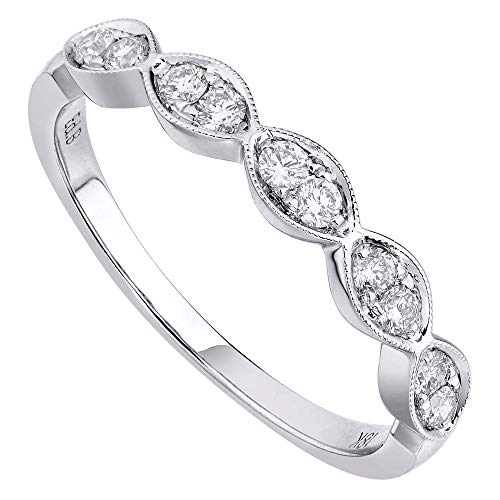 Rachel Koen 18K White Gold 0.25cts Genuine Diamond Pave Ladies Ring Size 6.5