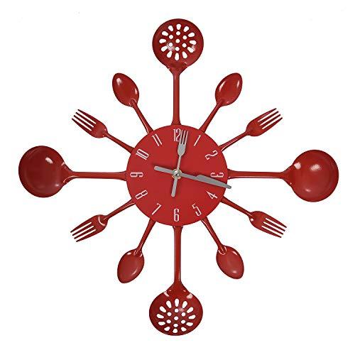 Viudecce Reloj de Pared de Cubiertos para el Hogar - Rojo