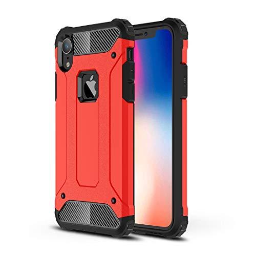 """DESCHE Funda iPhone XR 6.1"""" Hard PC Soft TPU 2 en 1 360° Funda Resistente a los arañazos a Prueba de Golpes Funda Duradera para teléfono+Vidrio Templado Rojo"""