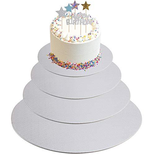 KINDPMA 4er Cake Board 30cm 25cm 20cm 15cm Tortenunterlage Cakeboard Rund mit 4 Set Cake Topper Tortenplatte Pappe Kuchenplatte für Mehrstöckige Torten Silber 2mm Dicke