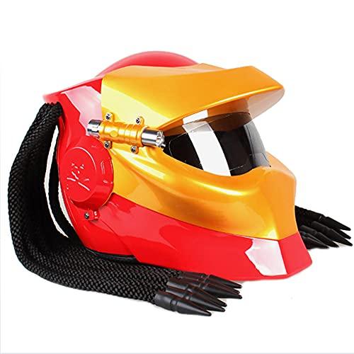 ACC Casco abierto de motocicleta con luces LED y trenza, para el cabello, estilo guerrero, con lentes antiniebla, rojo, S