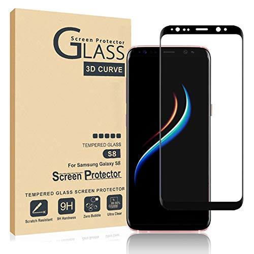[2 Pack] Galaxy S8 Screen Protector Tempered Glass, [Update Version] 3D Curved Dot Matrix [Full Screen Coverage] Glass Screen Protector [Case Friendly]