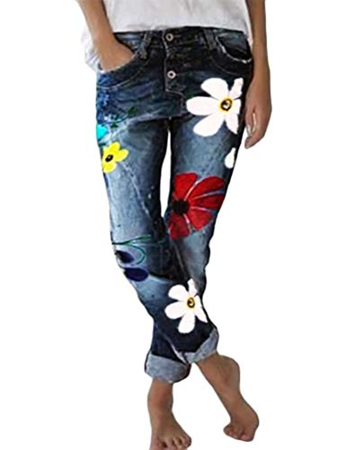 Onsoyours Damen Jeans Blumen Stickerei Slim Fit Skinny Hose Damen High Waist Jeanshose Straight Leg Hochbund Hosen Marine Medium