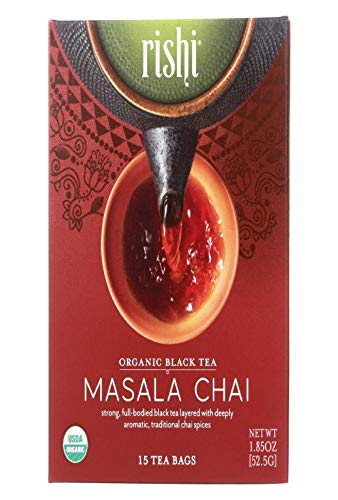 Rishi Tea Masala Chai Tea - Organic Black Tea Blend Sachet Tea Bags - 15 Count