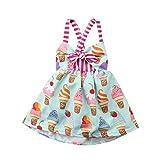 Carolilly Bambina Abito Estivo Neonata Vestito Cotone Femmina Senza Maniche Gelato Body Baby Girl (0-5anni)