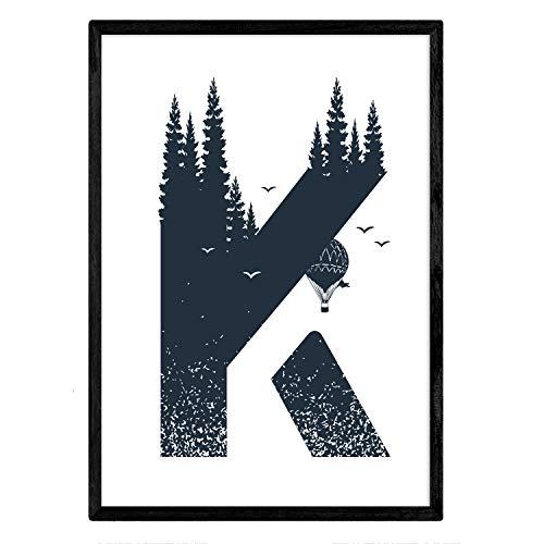Letter K met bos, ballonnen en bergen. Naturaleza.Posters van letters met design. A3-formaat zonder lijst