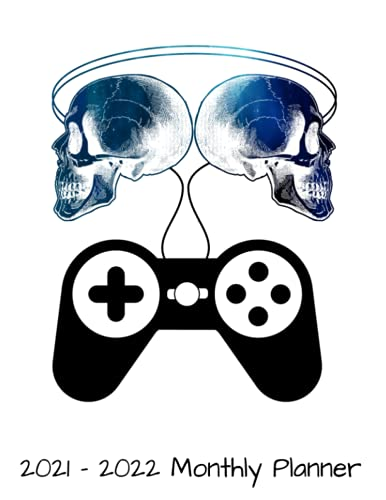 2021 - 2022 Monthly Planner: Mind Controller Skull Gaming Gamer Daily Weekly Monthly Planner - 24 Months Jan 2021 to Dec 2022 Diary, Calendar Organizer - Two Year Motivational Agenda Schedules