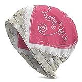 Sherly Yard Bonnet Beanie Classique plissé,Lettre de Citation d'amour pour la Saint-Valentin,Bonnet Beanie Long,Unisexe