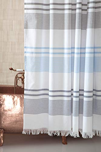 Ozan Premium Home 100% Turkish Cotton Blue Striped and Fringed Shower Curtain for Bathroom
