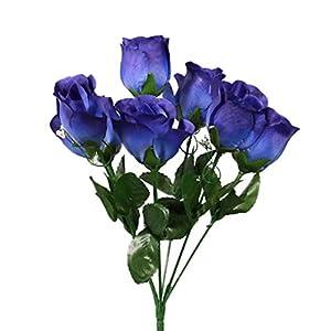 SN Decor 84 Silk Rose Buds Artificial Flowers for Wedding DIY Centerpiece Floral Arrangement (10″x4″) Fake Roses Navy Blue Silk Flower with Gypsophila – New