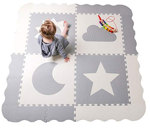 "Baby Play Mat Tiles - 61"" x 61"" Extra Large, Non Toxic Thick Floor Mat for Kids, Grey & White Interlocking Foam Playroom & Nursery Playmat, Safe & Protective For Infants Tummy Time"