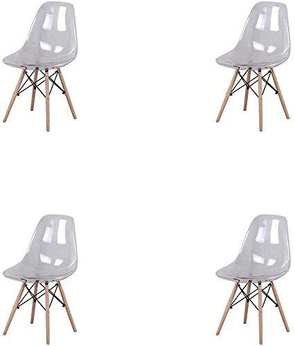 n/c Juego de 4 Silla de Comedor de Estilo Nórdico con Patas de Madera de Haya Maciza Sillas de Estilo Transparente Transparentes de Acrílico para el Hogar y la Oficina (Blanco)