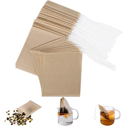 Eco-Fil Disposable Tea Filter Bags for Loose Tea, Wood Pulp Material, Biodegradable and Compostable, Unbleached Empty Tea Infuser Sachets with Drawstring, 100 Pack (3.2' x 4.0')