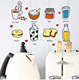 Stickers muraux amovibles Restaurant cuisine cuisine Ustensiles Astuce Réfrigérateur Autocollant Cuisine Stickers Muraux 55 * 40...