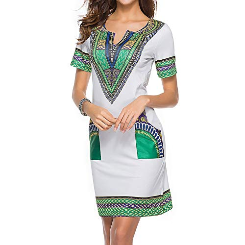 Vestido De Verano De Las Mujeres Tradicional Africana Sólo Imprimir Mini Vestidos Cortos del Ocio del Vestido De Las Mangas Escote V Bodycon Vestido De La Túnica De Bolsillo