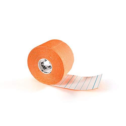 #DoYourFitness x World Fitness WFX 1x Kinesiologie Tape [5m x 5cm LxB] - Lange Tragezeit - elastische Bandage für Sport - Selbsklebend, 100{b9c4b7e22456992c1d45f059f1a034915ded24b6354fde9ab148003216ec884a} gewebte Baumwolle, Wasserresistent, Latexfrei - Orange