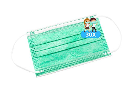 TBOC Mascarilla Higiénica Niños No Reutilizable -  [Pack 30 Unidades] 3 Capas [Color Verde]