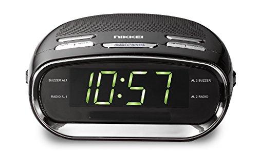 Nikkei NR151 - wekker met FM-radio, digitale wekker, klokradio met radio, groot display, snooze, batterijback-up, slaaptimer, dual alarm, dubbel alarm en sluimerfunctie