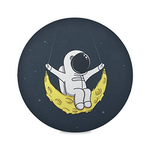 JinDoDo - Manteles individuales redondos de astronauta con columpio de luna, manteles individuales de cocina, lavables para decoración de mesa, juego de 4