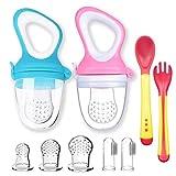 2pcs Chupetes Frutas Bebe Sin BPA Alimentador Antiahogo de Fruta para Bebés + 3 Tetinas de Silicona en 3 Tamaños + 2 Cepillos de Dedo para Bebés (Azul+Rosa)