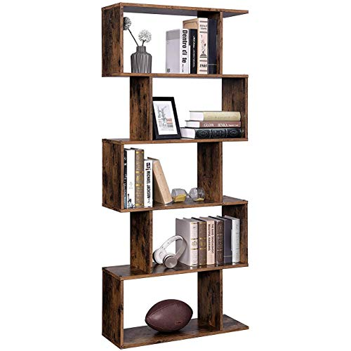 Wooden Bookcase, Display Shelf and Room Divider, Freestanding Decorative Storage Shelving, 5-Tier Easy-Assembly Open Metal Frame Bookcase Storage Shelf for Living Room, Narrow, Bedroom, Office, Rustic