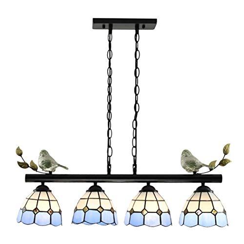 Kronleuchter Tiffany-Stil Pendelleuchte, Glasmalerei Hängeleuchte mit Lampenschirm, Retro Restaurant Lüster Deckenlampe für Schlafzimmer Wohnzimmer (Keine Glühbirne enthalten),1