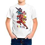 Camiseta Serie Niño - Unisex Power Rangers (Blanco, 5 años)