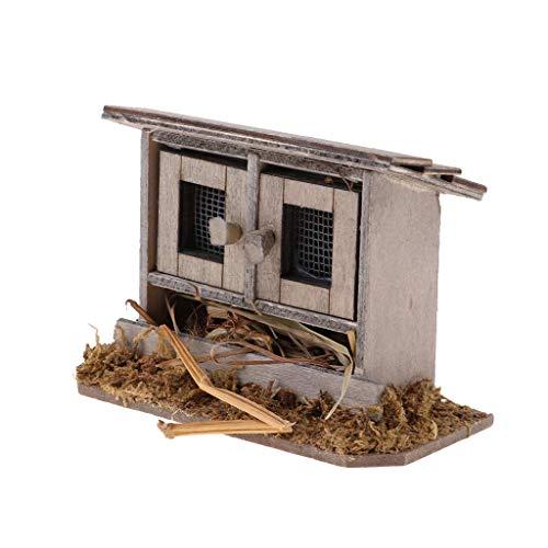 Fliyeong 12º gallinero en miniatura para decoración de casas de jardín de hadas, mini artesanía, decoración de paisajismo, accesorio de bricolaje duradero y útil