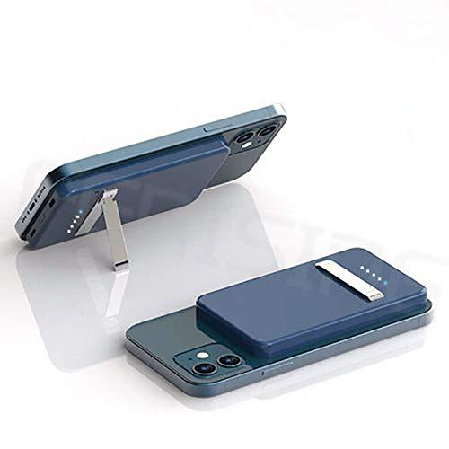 Mini Banco De Potencia Inalámbrico Qi Magnético Magnético 5000mAh, Portátil 15W con Soporte For Teléfonos Móviles Y Batería Externa Adecuada For iPhone 12/12 Pro/MAX (Color : Blue)