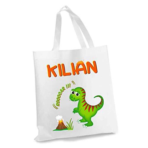 wolga-kreativ Stofftasche Einkaufstasche Dino ROOAR mit Name Stoffbeutel Kindertasche Sportbeutel Schuhbeutel Wäschebeutel Stoffsäckchen Jutebeutel Schultertasche Mädchen Junge