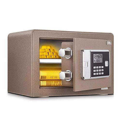 GAXQFEI Safes Schrankbett Elektronisches Passwort Kabinett Büro Wandmontierter Haushalt Kleiner Diebstahlstahl Doppel-Cash Gun-Zertifikat Sicherheitsgeld Handhabung Produkte,Gold,35 * 25 * 25Cm