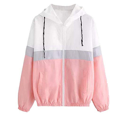 Las mujeres con capucha Chaquetas Patchwork manga larga ropa multicolor viga cintura Abrigos mujer casual cortavientos tamaño Rosa rosa L