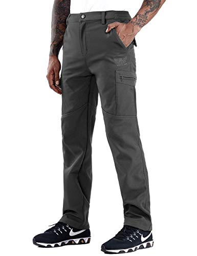 ZOEREA Pantalons de Randonnée Homme Softshell Doublé Polaire Coupe-Vent Outdoor Sport Travail Escalade Camping Trekking Montagne Pantalon (XXL, Style 3 Gris(avec Polaire))