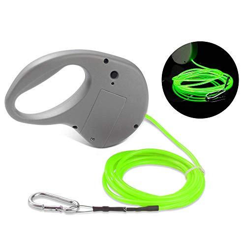 EBILUN LED-Hundeleine, stark, leicht, Stahldraht, für Hundetraining, Wandern, Leine mit blinkender Licht, 1,8 m, mit rutschfestem Griff für kleine, mittelgroße und große Hunde