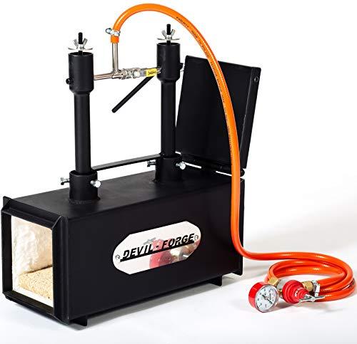 Forgia a gas propano – DFPROF2+1D con 2 bruciatori DFP (80,000 BTU) 1 porta fabbri maniscalco realizzatori di coltelli lavori di forgiatura | Bruciatori con valvole a sfera per gas Utilizzare 1 o 2